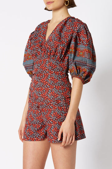 FLORAL BLOUSE WITH V NECK AND 3 QUARTER BELL SLEEVES, RUBY COLOR