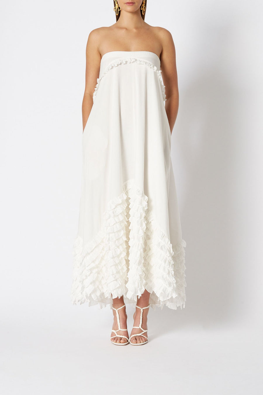 COTTON RUFFLE off shoulder dress, bell sleeves, tie around waist, ruffle at bottom of dress, falls above ankle, color white