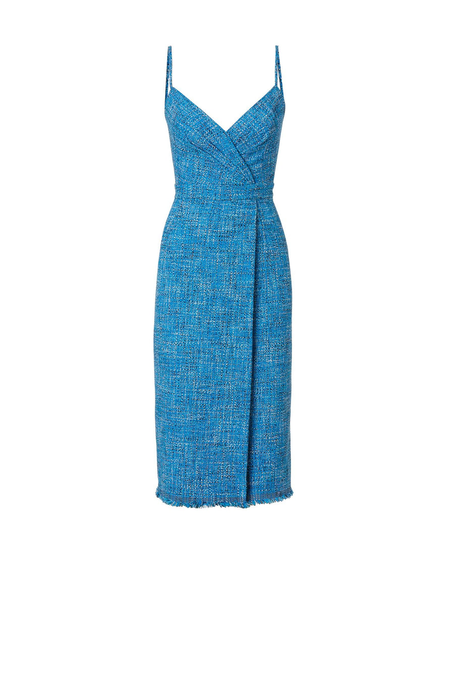 TWEED DRESS AZURE, Spaghetti straps, Knee-length