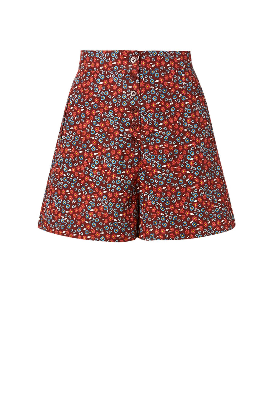 COTTON FLORAL high waist short, features button down front with pockets, color ruby