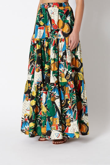 CALYPSO LONG SKIRT, WOVEN RUCHED HIGH WAIST, FALLS JUST BELOW ANKLE, COLOR BLACK PRINT