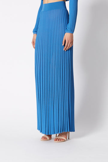 PLEATED RIB LONG SKIRT, HIGH WAISTED SKIRT WHICH FALLS BELOW ANKLE, FLOWY STYLE, COLOR BLUE