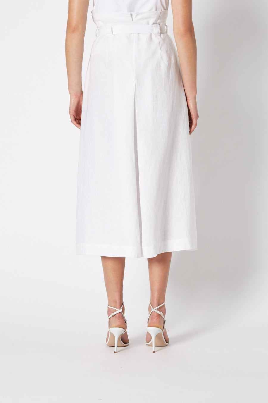 LINEN DEEP WOVEN PLEAT SKIRT, HIGH WAIST AND FALLS BELOW KNEE, COLOR WHITE