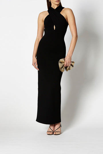 Crepe Knit Wrap Neck Black, Front keyhole opening, Maxi length