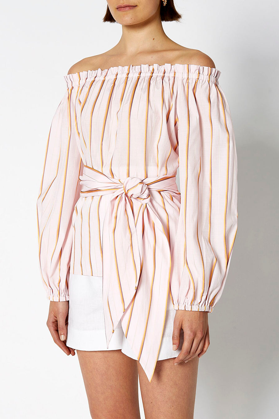 STRIPE COTTON WRAP TOP ROSA