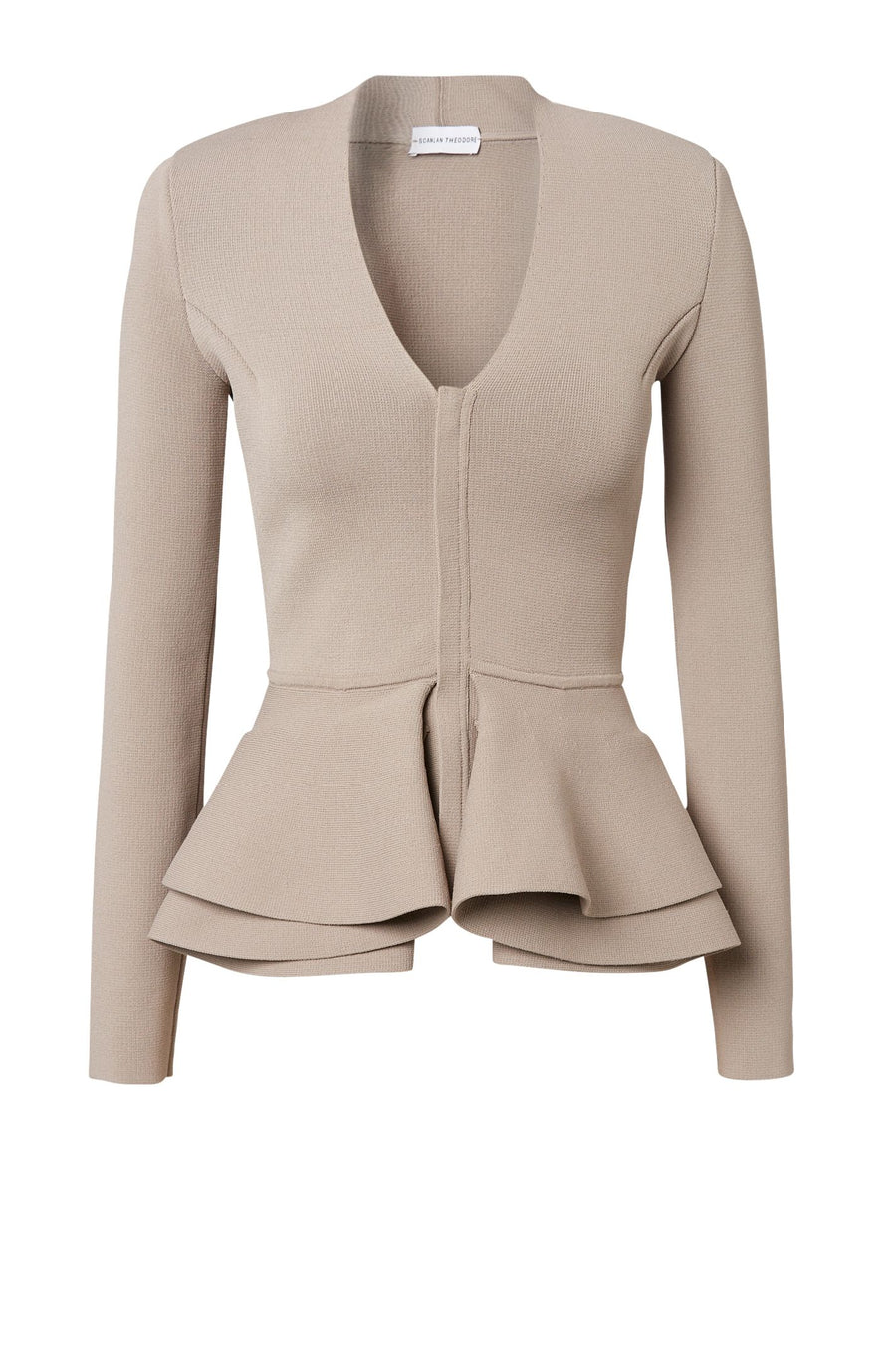 CREPE KNIT V-NECK RUFFLE PEPLUM JACKET, LONG SLEEVES, COLOR CLAY