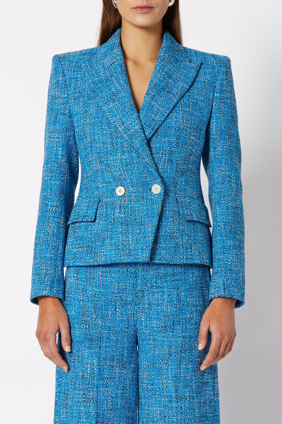 TWEED JACKET AZURE, Double-breasted closure, Side pockets