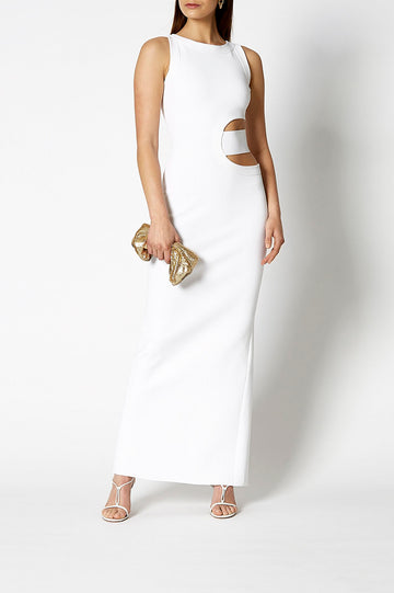 Crepe Knit Gown White, Maxi length, Slit back opening