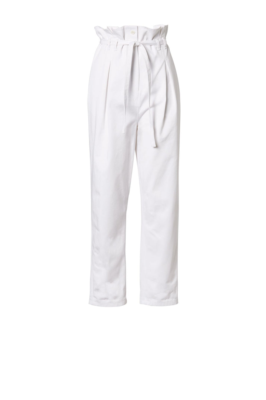 PLEAT FRONT TROUSER, HIGH WAISTED PLEATED STYLE, FALLS JUST BELOW ANKLE, COLOR WHITE