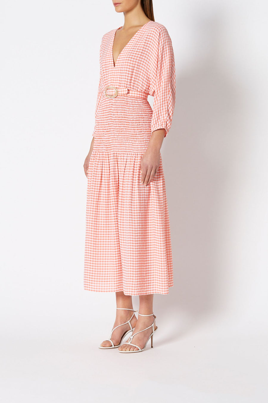 GINGHAM SHIRRED DRESS, 3 QUARTER SLEEVES, V NECK, TIGHT AROUND WAIST, FALLS ABOVE ANKLE, COLOR WATERMELON