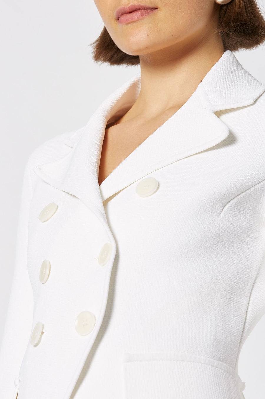 CREPE KNIT TAILORED JACKET, DOUBLE BREASTED, LONG SLEEVE, COLOR WHITE