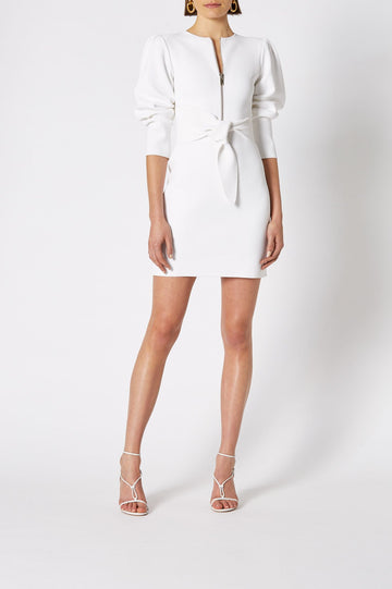 CREPE KNIT GATHER SLEEVE DRESS, features crew neck with front zip and falls above knee, color white