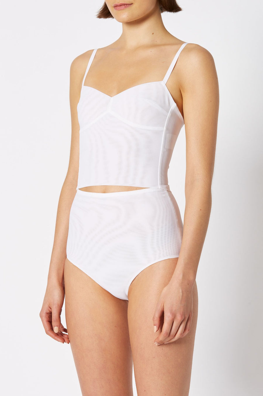 MESH BRALET, SHOESTRING STRAPS WITH BODICE, COLOR WHITE