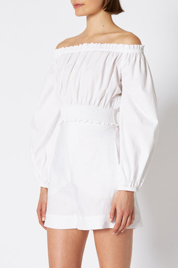 COTTON CROPPED off shoulder top, long sleeve and white color
