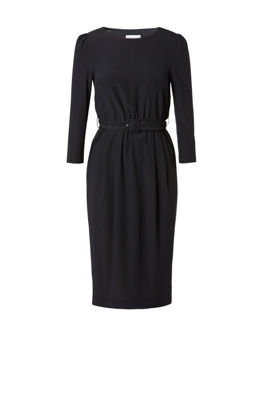SILK PENCIL DRESS NAVY, Straight fit