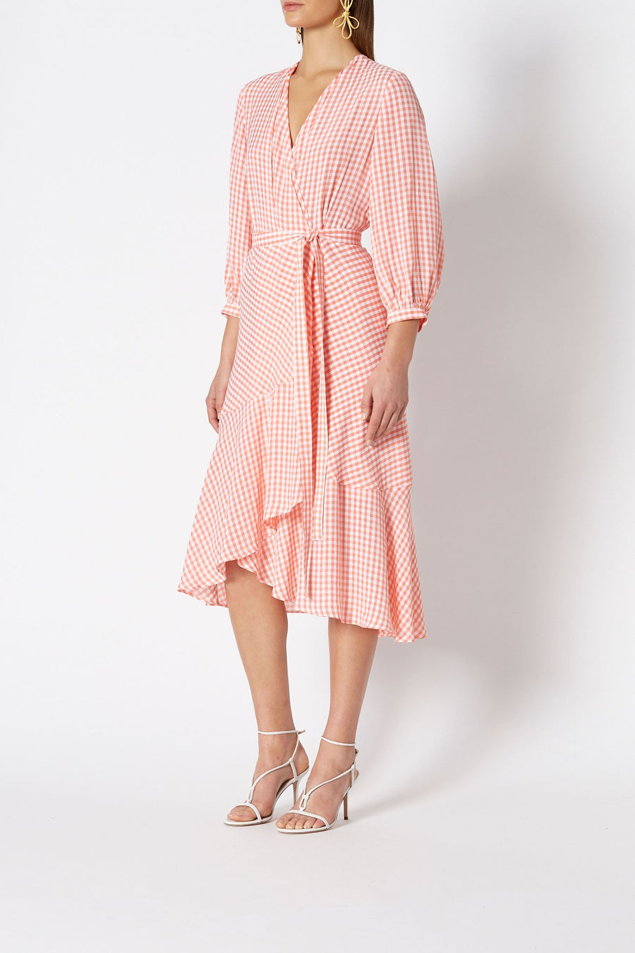 Gingham Wrap Front Dress, wrap around, billowing sleeves hidden side pockets, color WATERMELON
