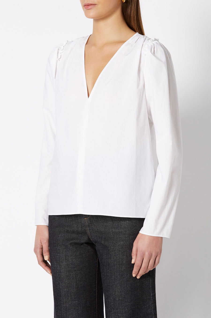 V NECK BLOUSE WHITE