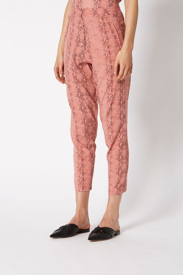 SILK REPTILE PRINT TROUSER ROSE