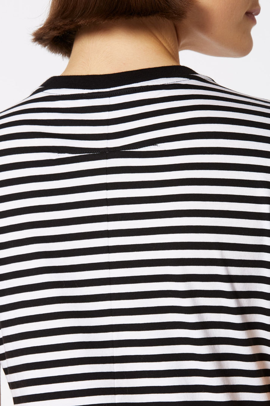 MERCERISED STRIPE T-SHIRT BLACK