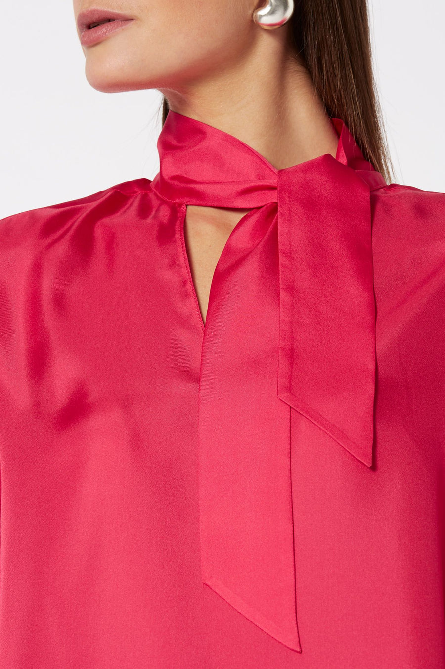 Silk TIe Neck Blouse Rasberry, Loose Fit, Long Sleeves, Tie Neck Cravat