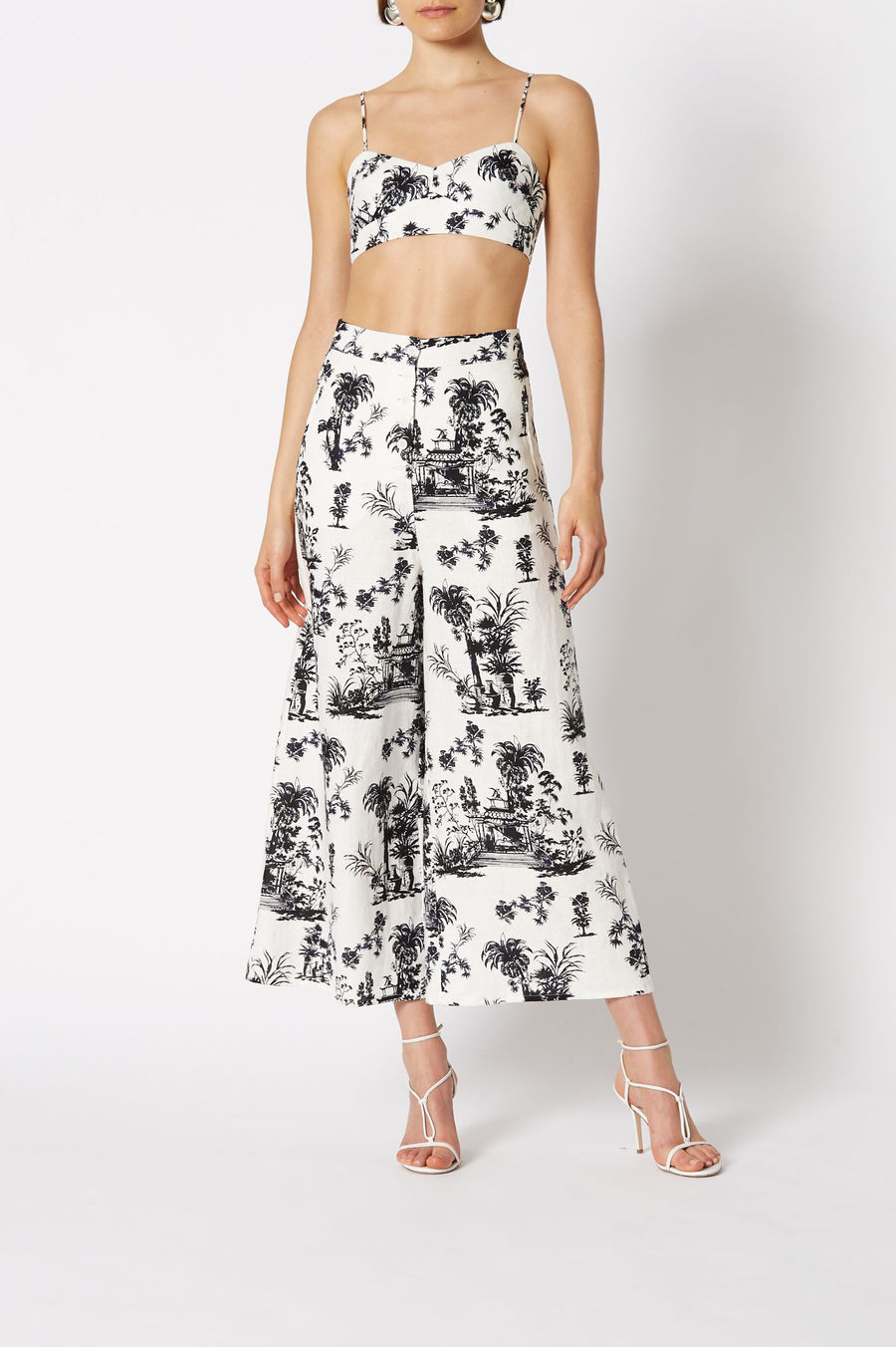 Chinoiserie Linen Trouser White, Loose fit,  High-Waist, Wide Leg Hem, Front Button Closure