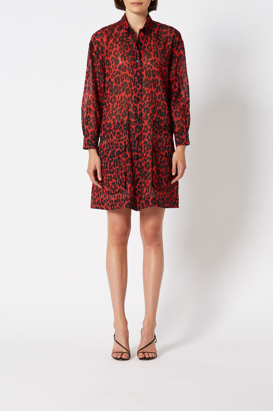 Animal Print Pocket Dress Red, above the knee length, point collar, button down front, pocket detail.