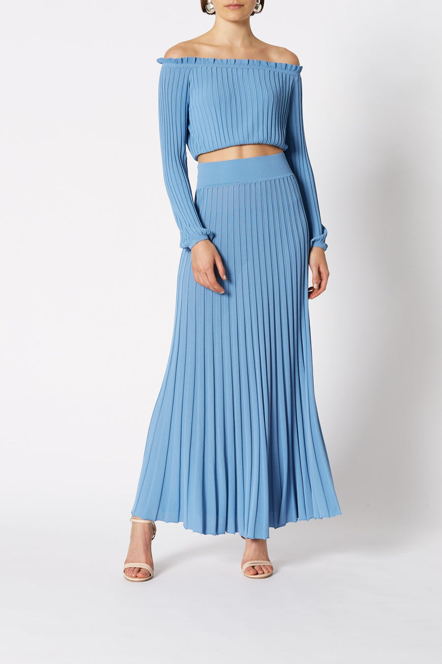 PLEATED RIB CROP TOP, Italian Pleated Rib Knit Fabric