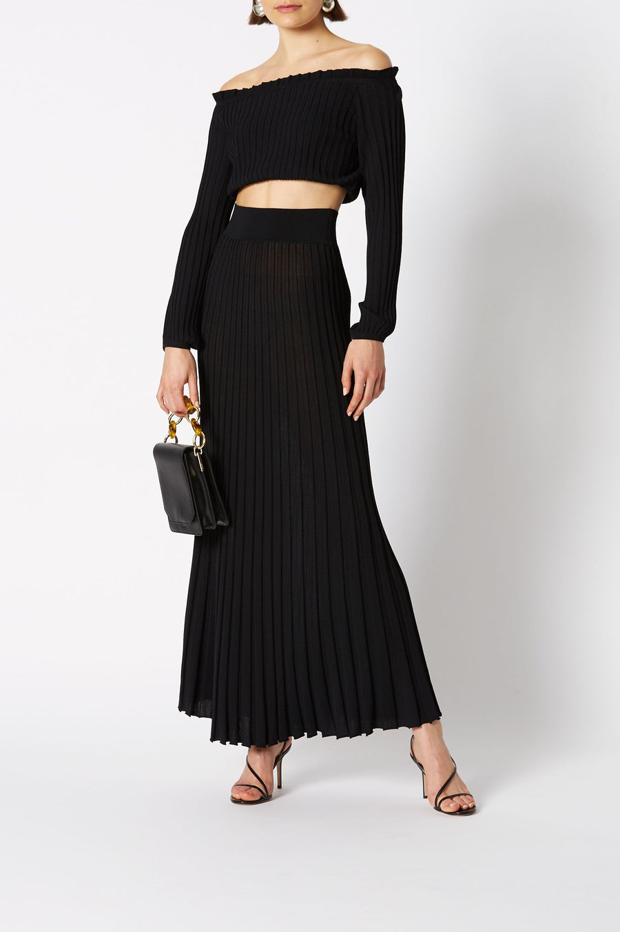 PLEATED RIB LONG SKIRT 16 BLACK