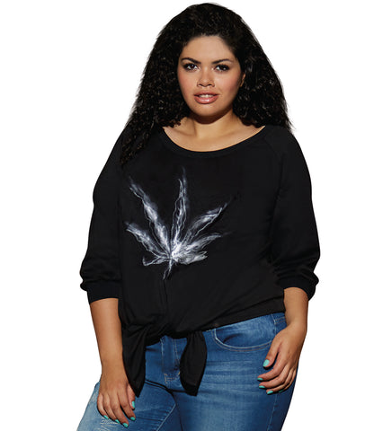 Women's Oversized French Terry Tie-front Sweatshirt - Plus