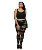 Women's Seamless Fishnet Leaf Legging - Plus