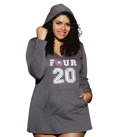 Women's Hooded Heathered Jersey Sleepshirt - Plus