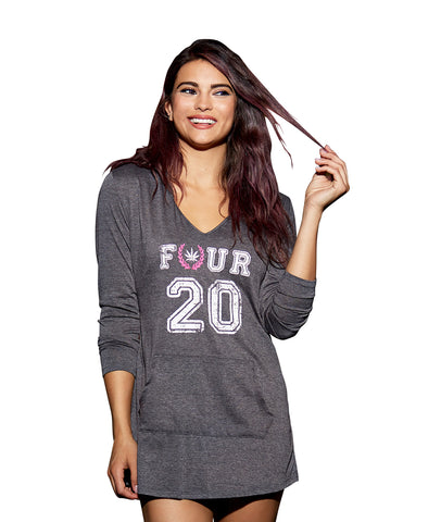 Women's Hooded Heathered Jersey Sleepshirt