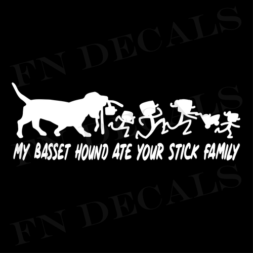 My Basset Hound Ate Your Stick Family Custom Car Window Vinyl Decal - FN Decals