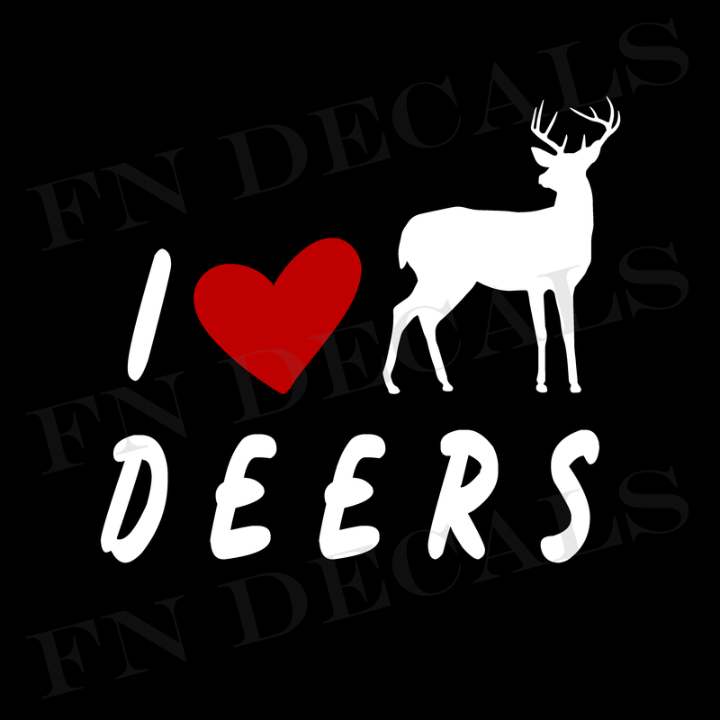 I Love Deers Vinyl Decal Sticker - Decal Sticker World