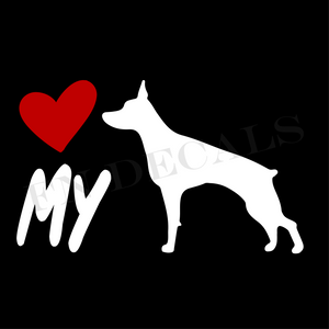 Doberman Love My Custom Car Window Vinyl Decal Sticker - FN Decals