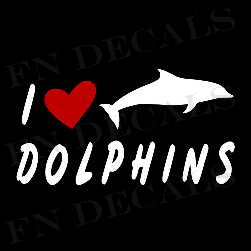 I Love Dolphins Vinyl Decal Sticker - Decal Sticker World