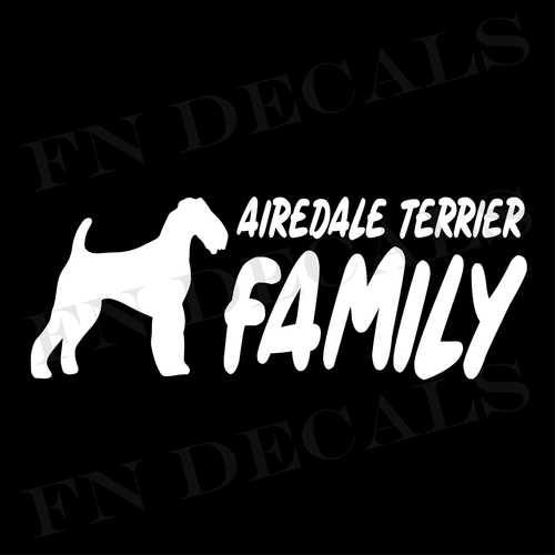 Airedale Terrier Family 2 Custom Car Window Vinyl Decal - FN Decals