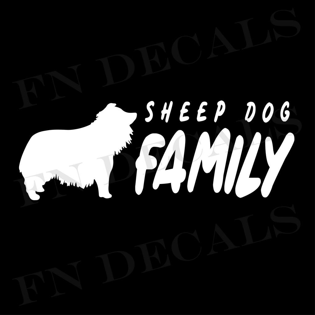 Sheepdog Family 2 Custom Car Window Vinyl Decal Sticker - FN Decals