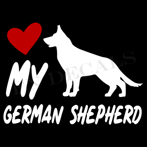 German Shepherd Love My with Breed Label Custom Car Window Vinyl Decal Sticker - FN Decals