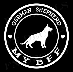 German Shepherd My BFF Custom Car Window Vinyl Decal Sticker - FN Decals