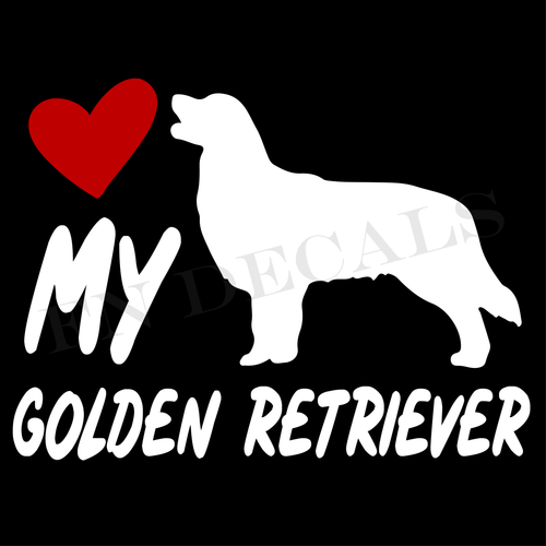 Golden Retriever Love My with Breed Label Custom Car Window Vinyl Decal Sticker - FN Decals