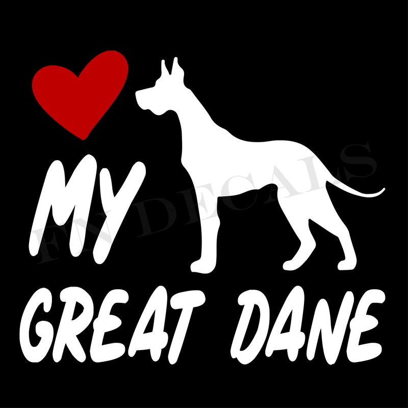 Love My Great Dane Vinyl Decal Sticker (V2) - Decal Sticker World