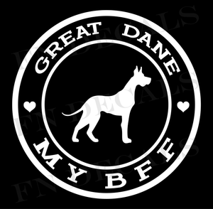 Great Dane My BFF Custom Car Window Vinyl Decal Sticker - FN Decals