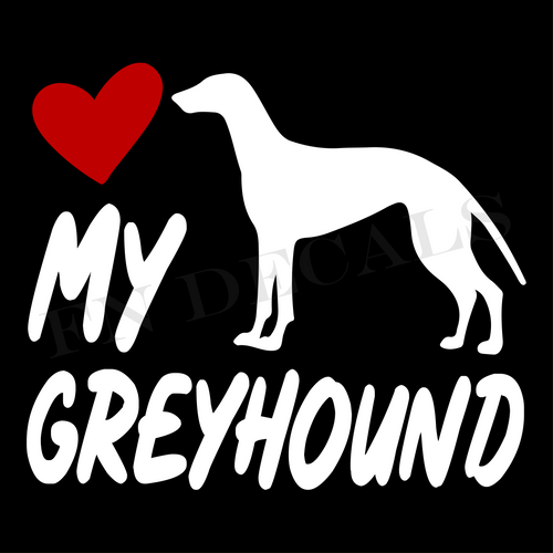Greyhound Love My with Breed Label Custom Car Window Vinyl Decal Sticker - FN Decals