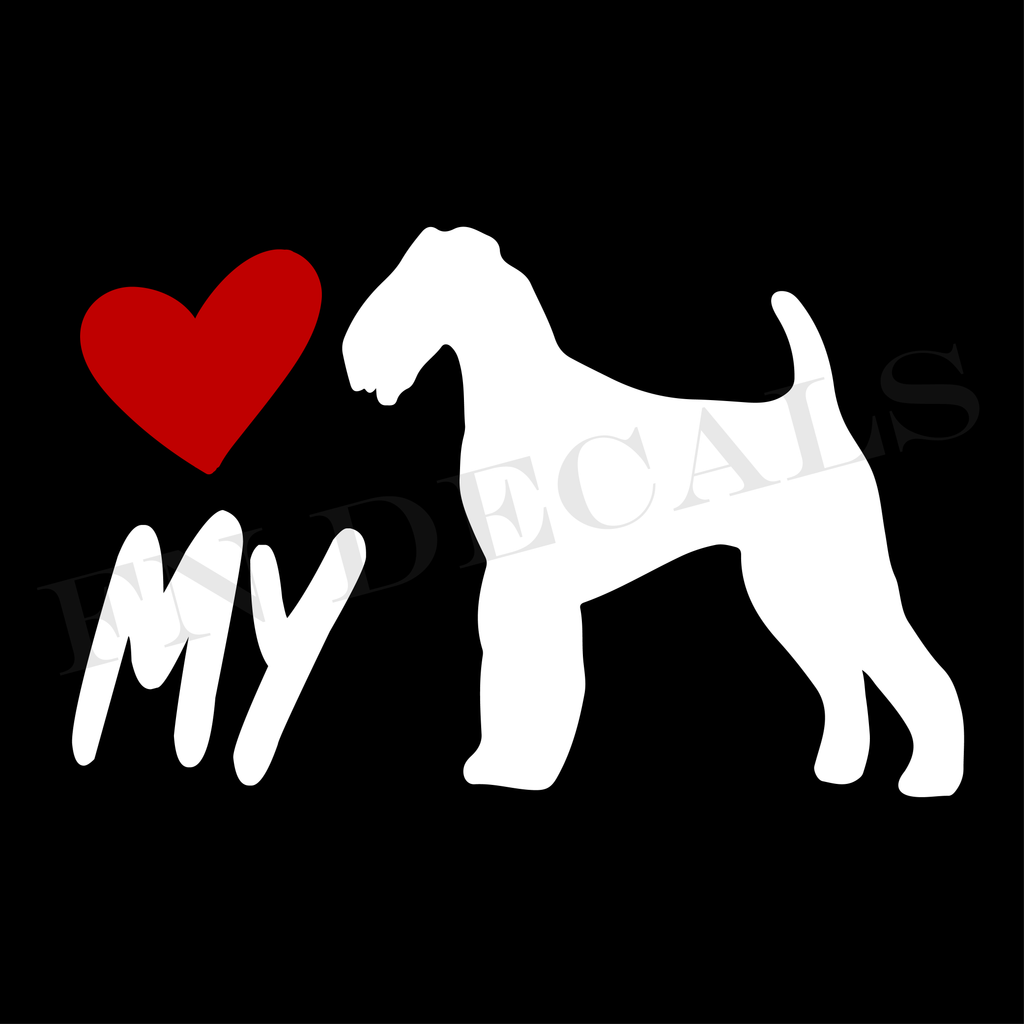 Airedale Terrier LOVE MY Custom Car Window Vinyl Decal - FN Decals