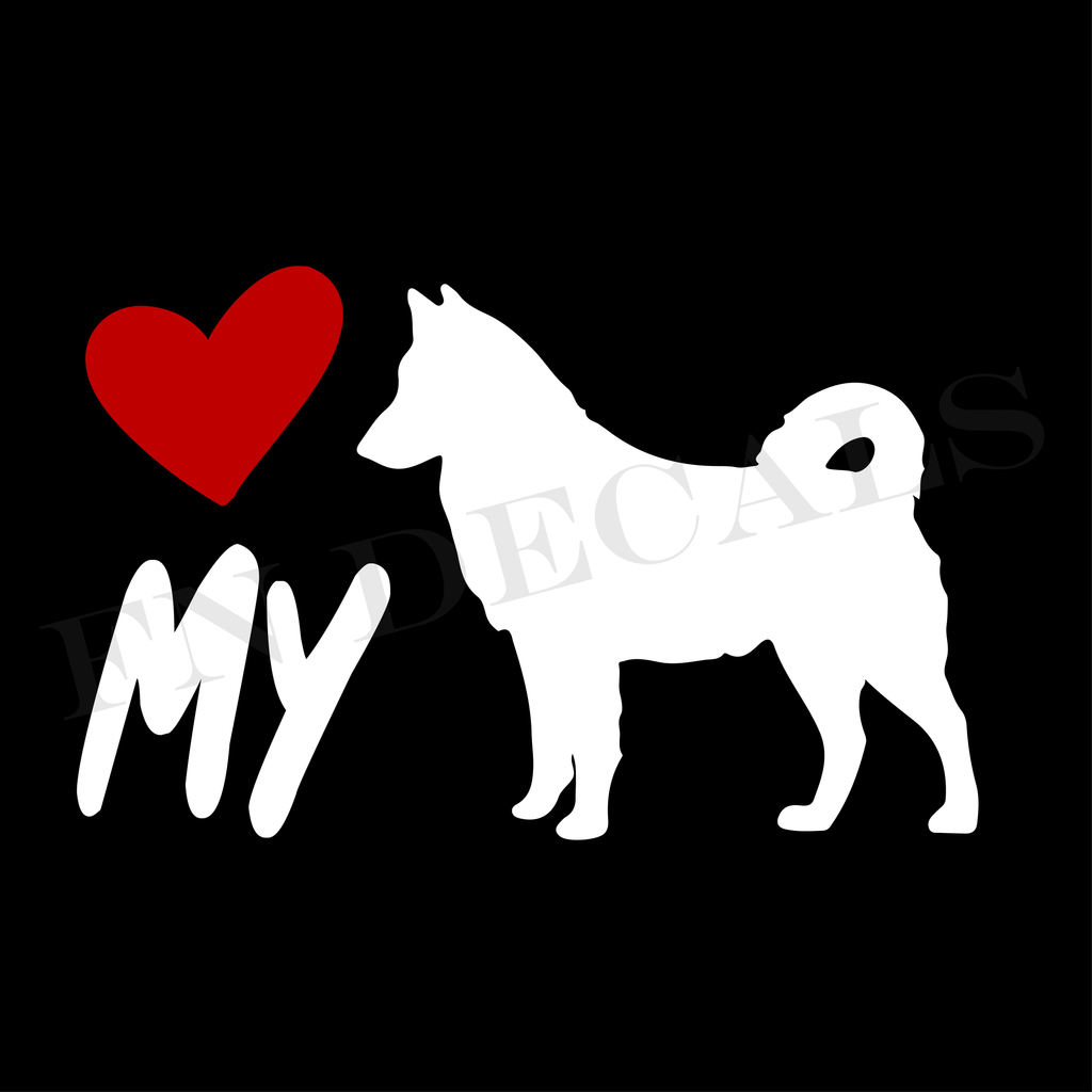 Alaskan Malamute Love My Custom Car Window Vinyl Decal - FN Decals