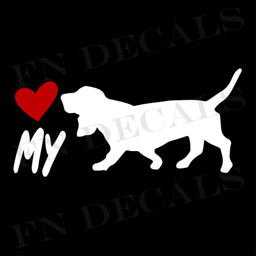 Basset Hound Love My Custom Car Window Vinyl Decal - FN Decals