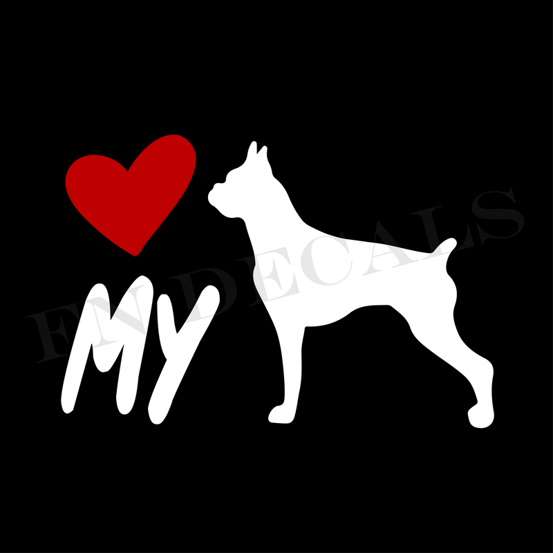 Love My Boxer Vinyl Decal Sticker (V1) - Decal Sticker World