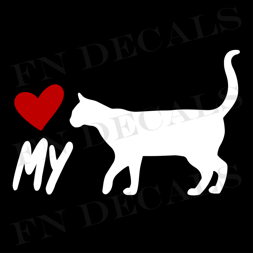 Cat Love My Custom Car Window Vinyl Decal Sticker - FN Decals