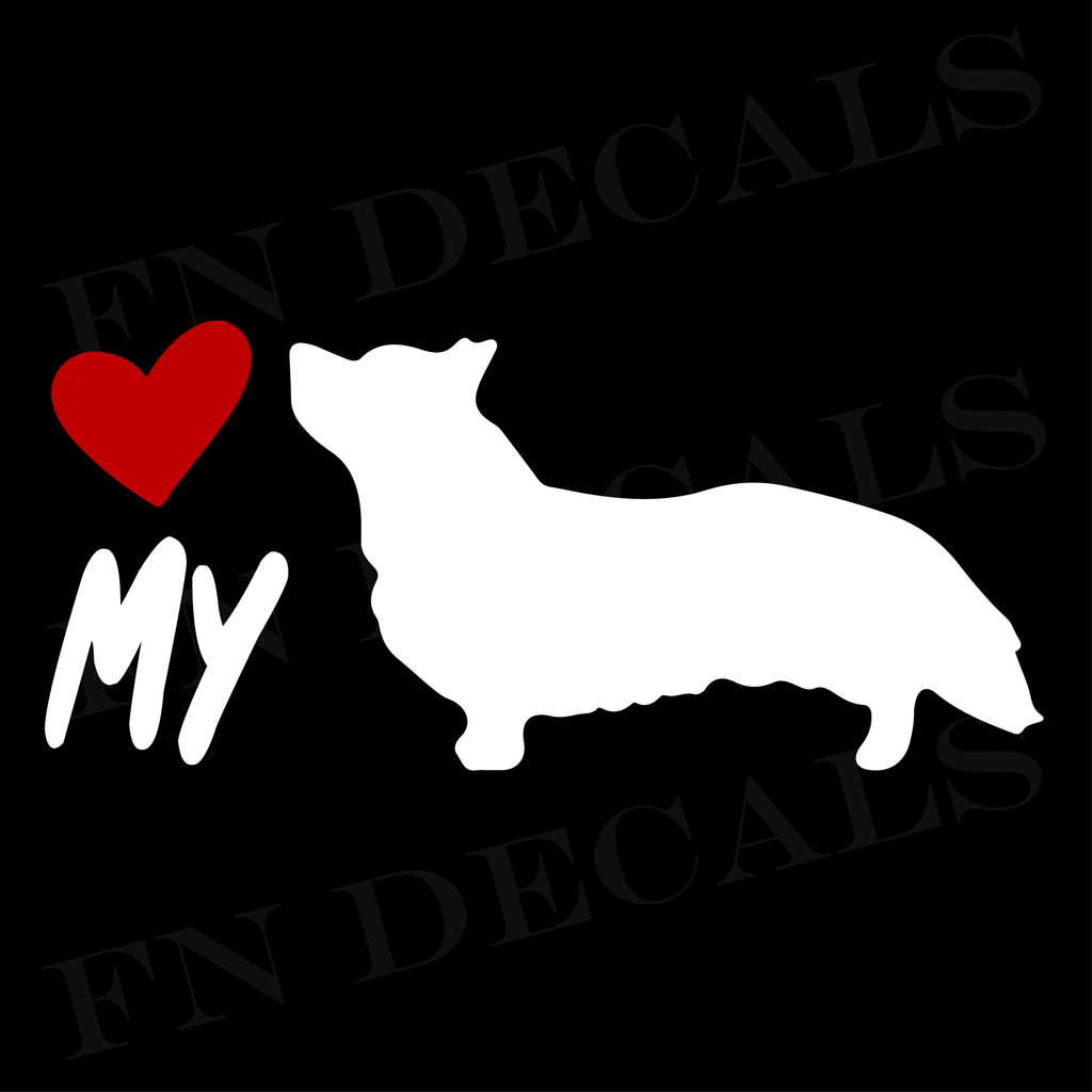 Corgi Love My Custom Car Window Vinyl Decal Sticker - FN Decals